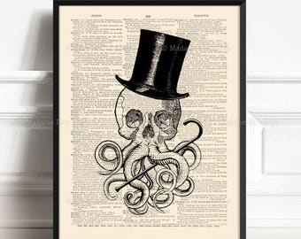The Call Of Cthulhu, Howard Lovecraft, Octopus Tentacles, Victorian Bathroom, Gift For Her Print, Horror Wall Decor, Beach House Poster 475