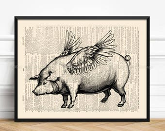 Pigs With Wings, Unique Gift, Friends Not Food, Flying Pigs, Funny Animal Gift, Nursery Print Pig, Home Office Decore, Home Decor 077