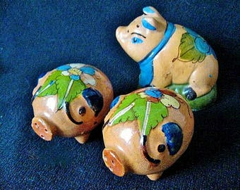 Three Tlaquepaque Pottery Pigs Salt & Pepper Shakers from 1930s Mexico
