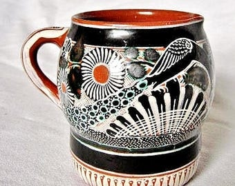 Signed José Bernabe Campechano Pottery Creamer or Small Pitcher Tonala Mexico