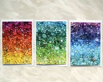 Colourful notecards - pack of 3 A6 blank cards