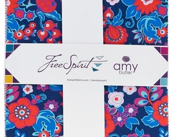 "Amy Butler Soul Mate 10"" Charm Pack 42 precut squares quilting cotton freespirit quilting flowers fabric floral FB610AB.22017"