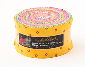 "Laurel Burch Tropical Jelly Roll with Metallic Accents 40 2.5"" strips ST0159 yellow cotton precut quilting fabric material"