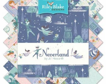 "Neverland 10"" Stackers (42 10"" squares) by Jill Howarth from Riley Blake Designs, 10-6570-42, Peter Pan, quilting cotton precut layer cake"
