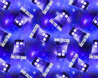 BBC Doctor Who Police Box Cosmos Fleece from Springs Creative polyester purple tardis by the yard metre 604661600710 dr who