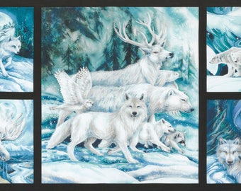 "Ice Winter's Majesty Digitally Printed 24"" Panel by Jody Bergsma for Robert Kaufman quilting cotton ABK1670588 wolves deer buck"