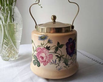 Vintage Ceramic Butterfly Biscuit Barrel, Cookie Jar