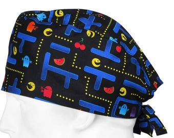 Arcade PacMan surgical cap/ scrub hat/ Hospital hat tie back/Pixie