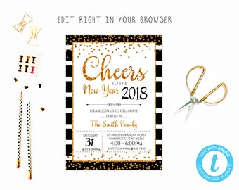 New years invite etsy new years party tem3 try before you buy instant download edit yourself invitation stopboris Gallery