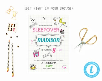 Cute fun slumber party tem , TRY BEFORE you BUY, instant download, edit yourself invitation,Template Editable