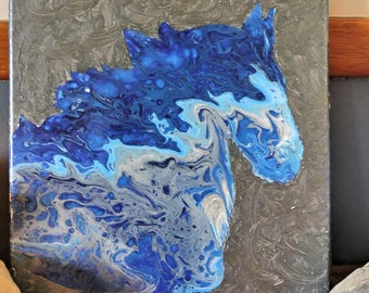 Blue Horse Head Poured Painting