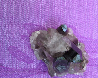 Small Black & Clear Beta Quartz Crystals, Druzey, geode,
