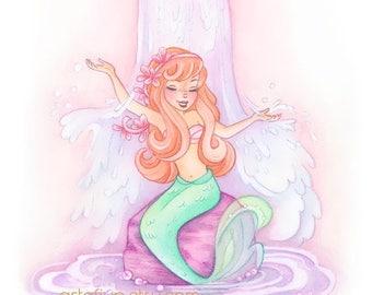 ON SALE Mermaid lagoon art print, neverland mermaid, peter pan wall art