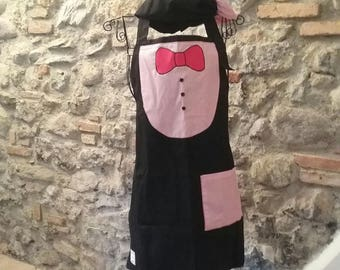 Kitchen apron for man with bow tie and hat