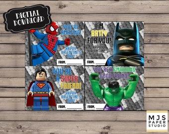 Super Hero Valentine's Day Cards; LEGO; instant digital download