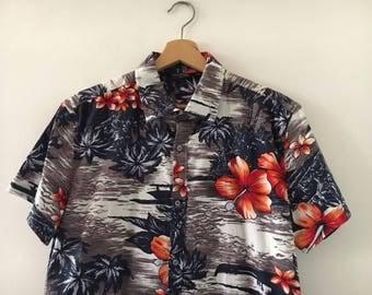 Hawaiian Shirt Vintage 90s Floreal Print