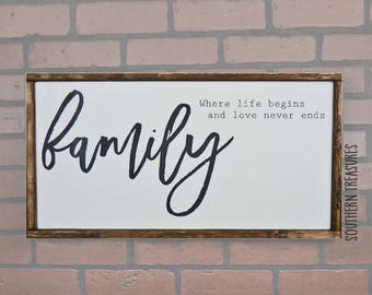Family Where Life Begins and Love Never Ends Framed Farmhouse Style Wood Sign