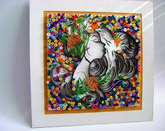 "Quilled Paper Art: ""Girl"",Wall Art, Home Decoration, Paper Quilling Art,Housewarming quilled art,Hanging Wall Art,Made by Helena Gerbolka,"