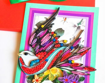 Quilling birdie Card,Give сard for Mom,Anniversary greeting card,Quilled birdie cards,Gift for Her,Thank You Card,Birdie paper quilling