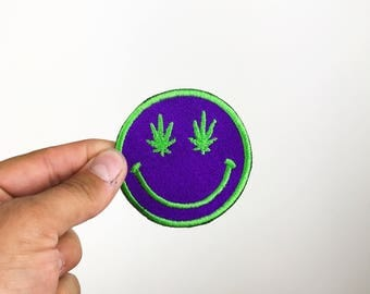 Weed Smiley Face Embroidered Patch