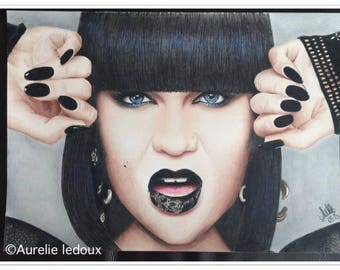 coloured pencil portrait of Jessie J
