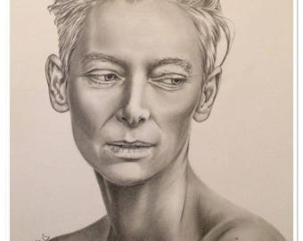 "pencil portrait ""Tilda Swinton"" graphite"