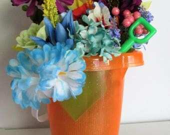 Beach Pail Themed Silk Flower Arrangement featuring a Shovel