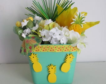 Pineapple Themed Silk Flower Arrangement featuring Wooden Pineapple charms, Drink Umbrella,  and Pineapple and Spiked Picks