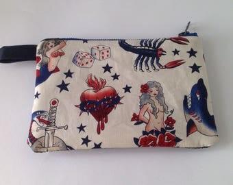 Handmade  cream tattoo and navy blue glitter fabric clutch purse, pouch for cosmetics, smart phone or passport