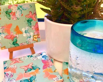 Ceramic Coasters- Blue Butterly Design