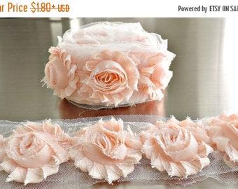 30% OFF BABY CREAM Chiffon Flowers 1/2 Yard or 1 Yard Shabby Flower Trim Frayed Flowers Chic Rosettes Rosette Trim Flowers Shabby Rose Flowe