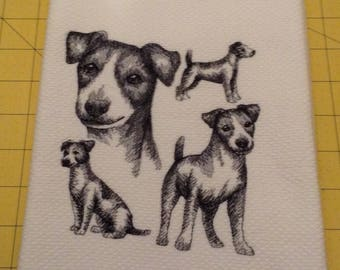 Jack Russell Collage Sketch Embroidered Kitchen Hand Towel, Williams Sonoma All Purpose, 100% cotton & XL, Made in Turkey