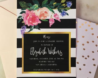 Printable French Floral & Stripe Lingerie Shower Invitation