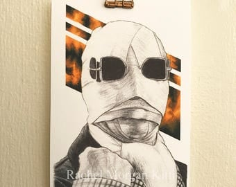 The Invisible Man, Original Art, Vintage, Old Hollywood, Claude Rains, Universal Monsters