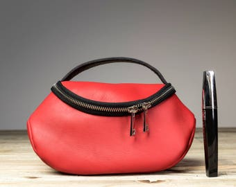 Red Makeup Pouch, Red Makeup, Red Leather Travel Pouch