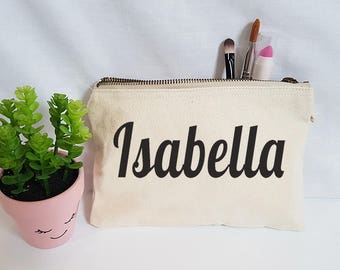 Makeup Bag - Custom/Personalized Bags - White/Natural Canvas - Cosmetic Bag - Toiletry Bag - FREE Pom Poms - Gift - Bridesmaids - Name Bag