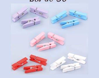 MINI CLOTHESPINS wooden 5 color set of 50