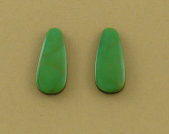 Gem Grade Turquoise Teardrops, high grade natural Royston turquoise, 20x9x3mm teardrops, green color, pair of hand-cut turquoise cabochons