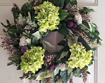 "18"" hydrangea wreath, purple wreath, small wreath, leaf wreath, preserved wreath, indoor wreath, elegant wreath, salal wreath"