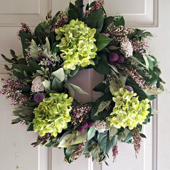 "18"" hydrangea wreath, purple wreath, small wreath, leaf wreath, preserved wreath, indoor wreath, elegant wreath, salal wreath"