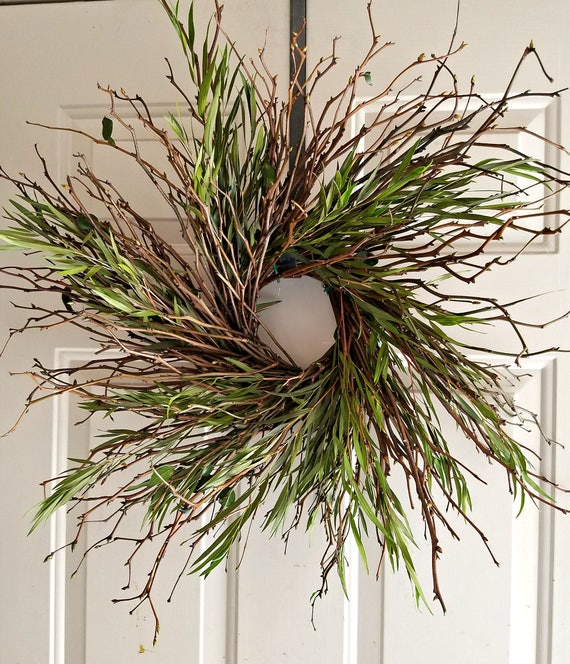 "twig wreath, 22 "" wreath, dried wreath, blue wreath, decorative wreath, natural wreath. dried flower wreath, dried wreath, small wreath"
