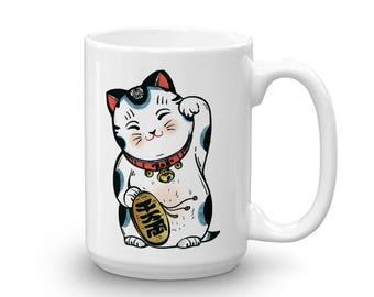 Lucky Cat Coffee Mug, Maneki-neko on a Coffee cup, Housewarming Gift