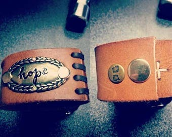 Hope Stamped metal Leather upcycled belt cuff