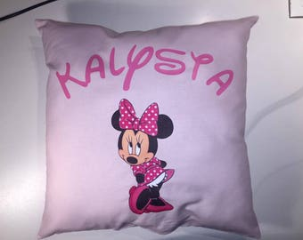 Pink Minnie personalized pillow + name