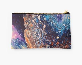 Blue zipper pouch (Pouch, travel pouch, pencil pouch, cosmetic pouch, zipper pencil pouch, makeup pouch, small zipper pouch, zippered pouch)