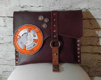 Slim leather bag, clutch, Star Wars inspired tooled patch - Made To Order
