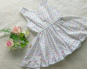 V neckline rainbow Swiss dots cotton ruffle twirl dress