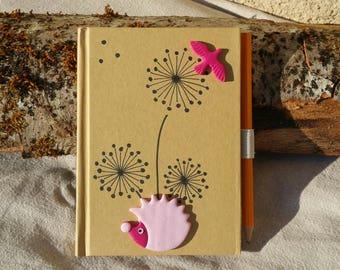 Notebook Pink Kraft A6 dandelions and Hedgehog
