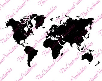 World Map Silhouette Etsy - Japan map silhouette