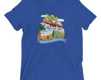 Adventure Kayak Cat Tri-blend casual unisex t-shirt